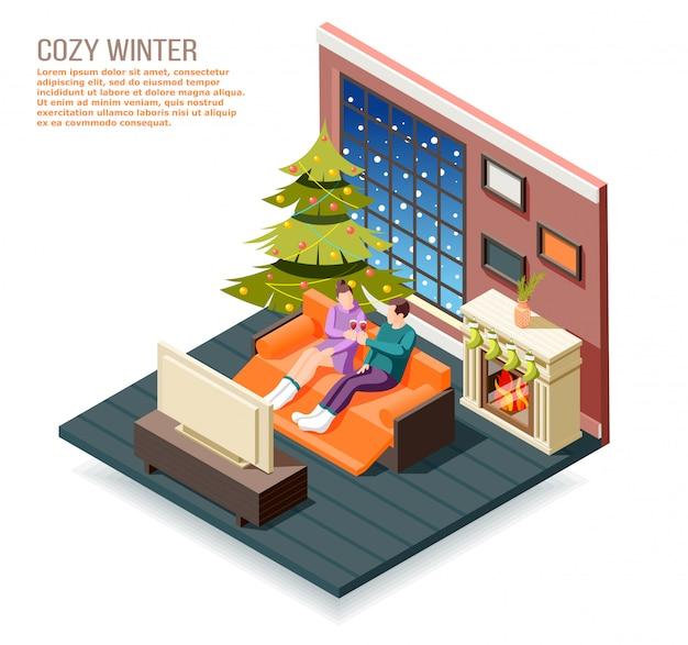 Gemütliche isometrische winterzusammensetzung mit männlichen und weiblichen charakteren im innenraum nahe kamin- und weihnachtsbaumillustration Kostenlosen Vektoren