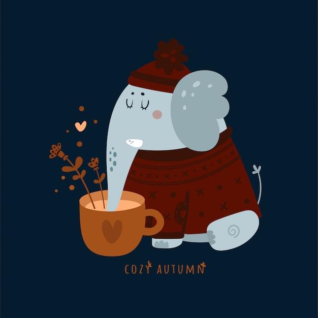 Gemütlicher herbst. netter tierelefant mit tasse kaffee, kräutertee Premium Vektoren