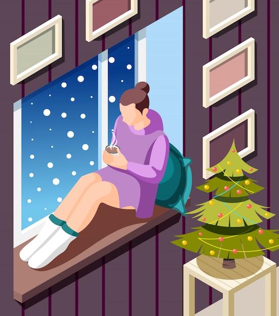 Gemütlicher isometrischer winterhintergrund mit der jungen frau, die auf fensterbank wärmend mit heißem kakao an der weihnachtsbaumillustration sitzt Kostenlosen Vektoren