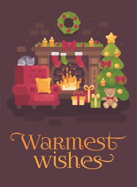Gemütliches weihnachtszimmer mit kamin, sessel, weihnachtsbaum und schlafender katze. feiertagsgruß Premium Vektoren