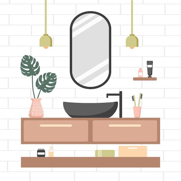 Gemütliches weißes zimmer mit ovalem spiegel und schwarzem waschbecken Premium Vektoren