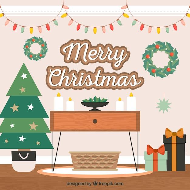 Gemütliches zuhause für weihnachten dekoriert Kostenlosen Vektoren