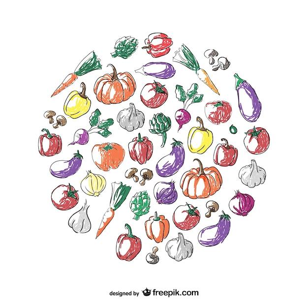 Gemüse Kreis Gekritzelkunst Kostenlose Vektoren