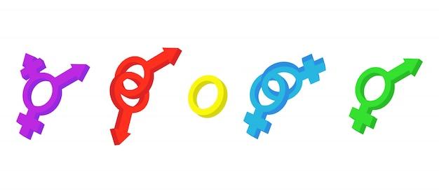 Gender-zeichen-icon-set Premium Vektoren