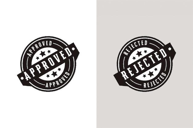 Genehmigt und abgelehnt set stempel etiketten siegel abzeichen Premium Vektoren
