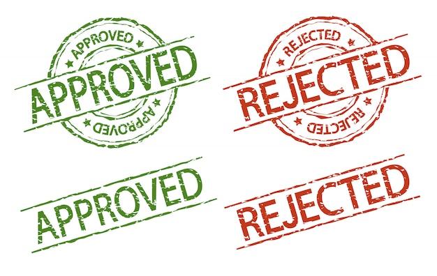 Genehmigter und zurückgewiesener stempel, vektorzeichenweinleseart Premium Vektoren