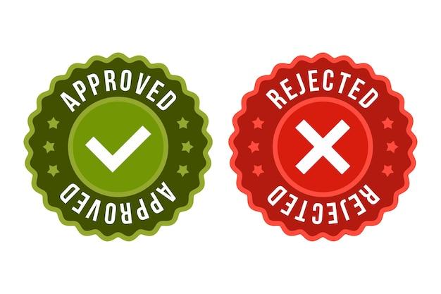 Genehmigtes und zurückgewiesenes aufklebersymbol Premium Vektoren