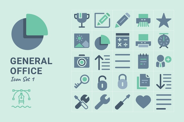 General office flache icon-set Premium Vektoren