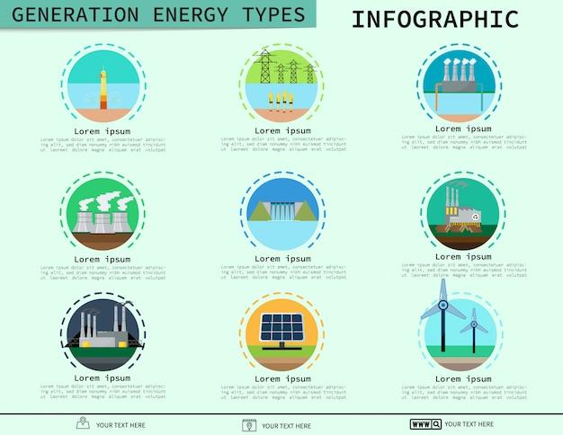 Generation energy types infographic. vektor-illustration Premium Vektoren