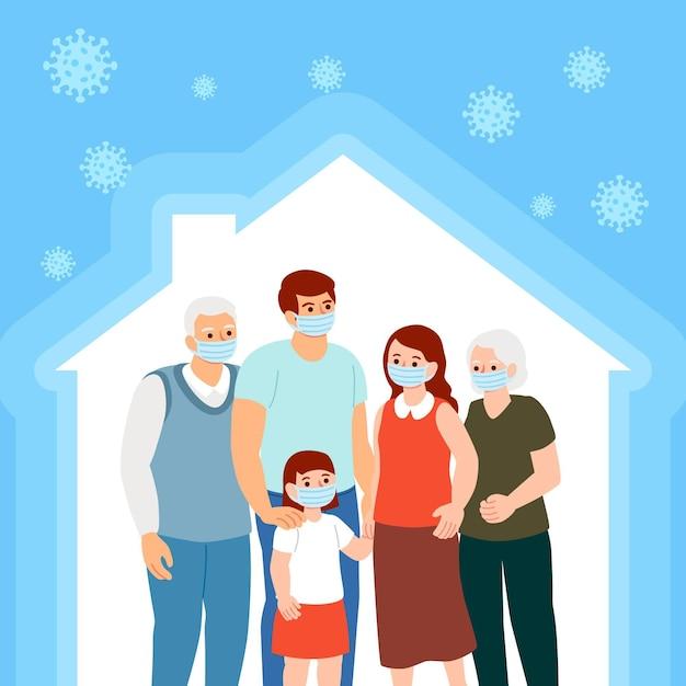 Generationen von familien, die zusammen bleiben Premium Vektoren