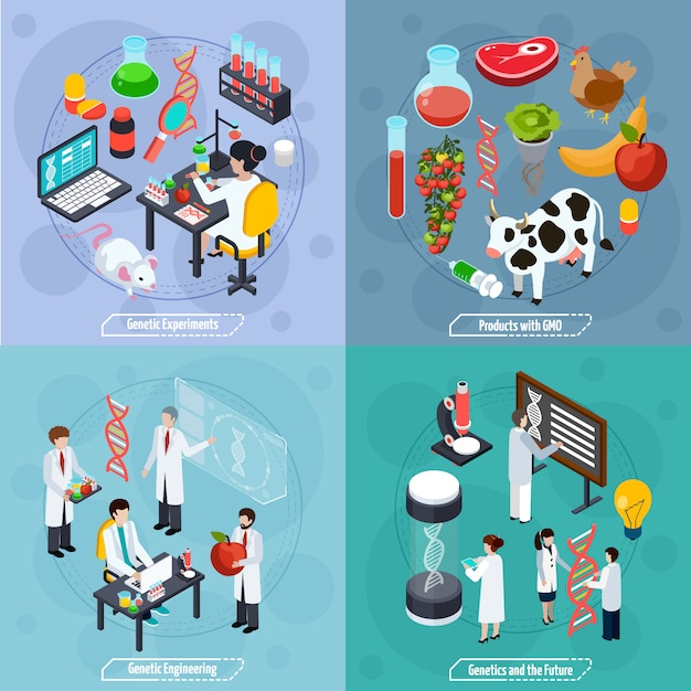 Genetics 2x2 design concept Kostenlosen Vektoren