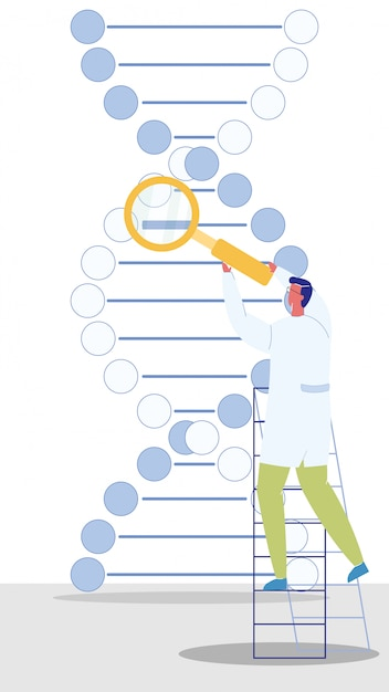 Genetische Ingenieur Charakter Vektor Illustration Premium
