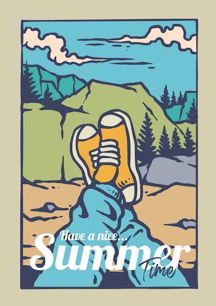 Genieße das sommerabenteuer auf dem berg mit turnschuhen Premium Vektoren
