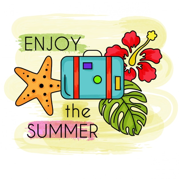Genieße den sommer. aquarell sommerurlaub. sommer-banner. Premium Vektoren