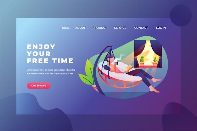 Genießen sie freizeit mit lese- und kaffee-webseiten-titel-landing page template illustration Premium Vektoren