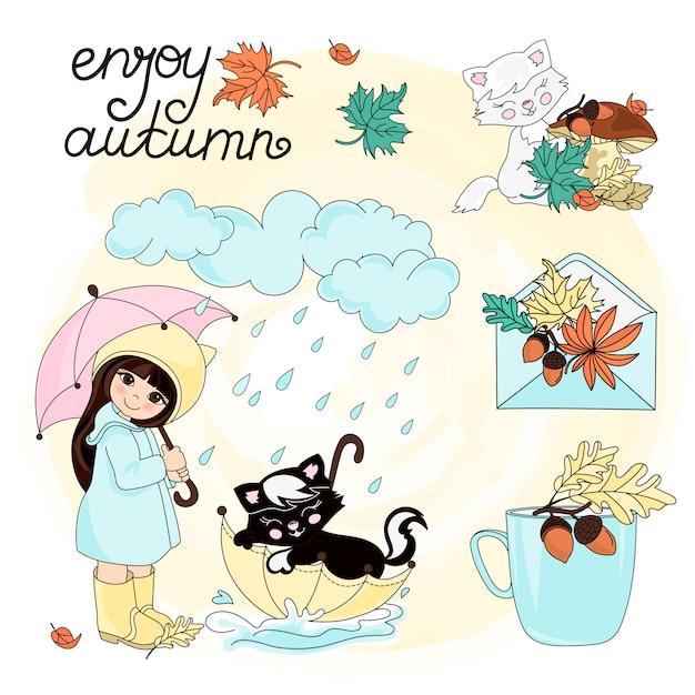 Genießen sie herbst autumn clipart vector illustration set color Premium Vektoren