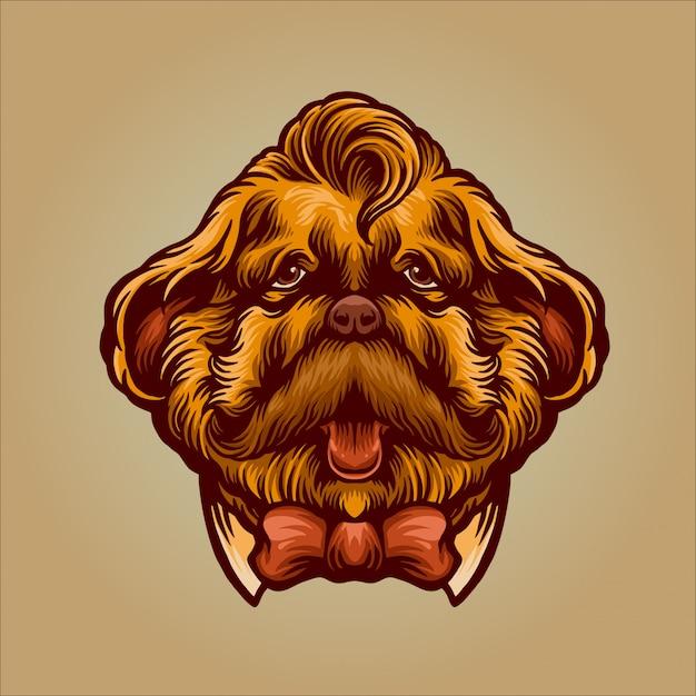 Gentleman dog charakter für movember Premium Vektoren