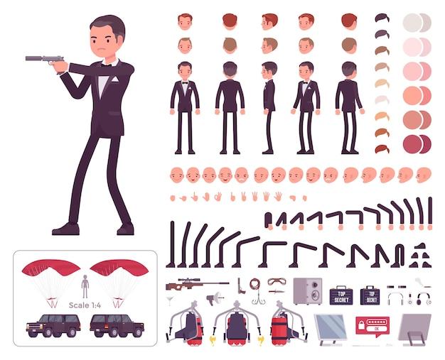 Gentleman spion des nachrichtendienstes zeichensatz Premium Vektoren
