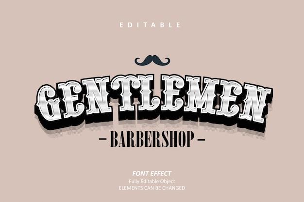 Gentlemen barbershop texteffekt Premium Vektoren