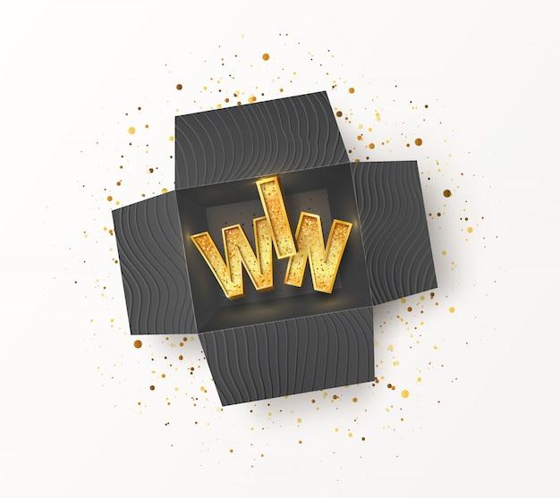 Geöffnete strukturierte schwarze geschenkbox mit goldenem win-wort im inneren. nehmen sie teil und gewinnen sie preise Premium Vektoren