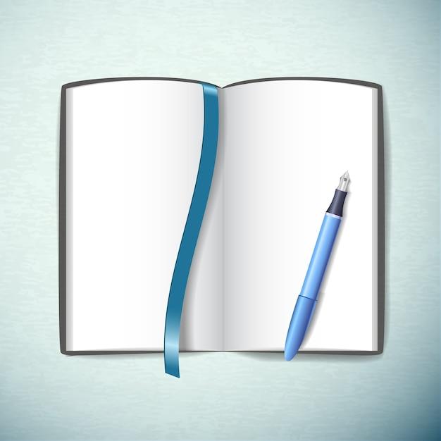 Geöffnetes leeres skizzenbuch mit stift und lesezeichen in blauer farbe flach Kostenlosen Vektoren