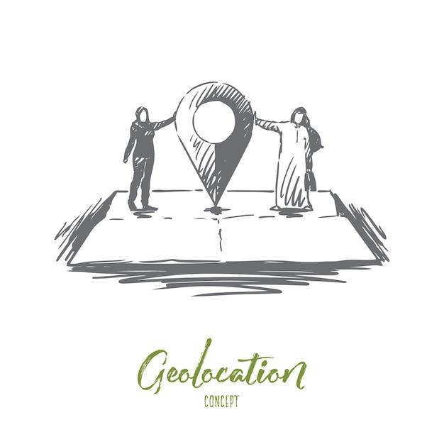 Geolokalisierungsillustration in der hand gezeichnet Premium Vektoren
