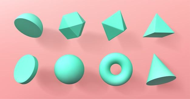 Geometrische 3d-formen halbkugel, oktaeder, kugel und torus, kegel, zylinder und pyramide Kostenlosen Vektoren