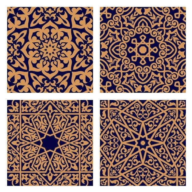 geometrische arabische nahtlose muster mit orangeem