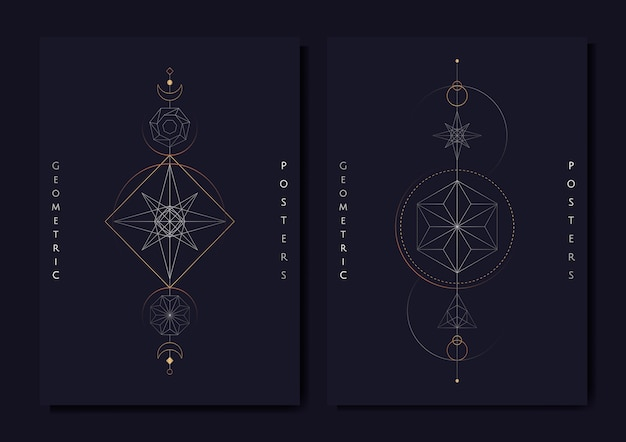 Geometrische astrologische symboltarotkarte Kostenlosen Vektoren