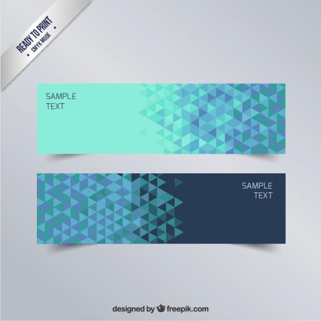 Geometrische banner in blautönen Kostenlosen Vektoren