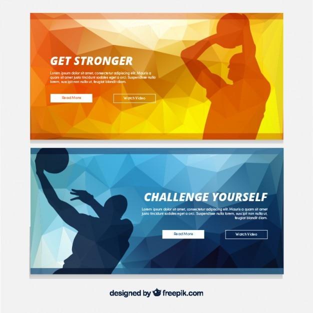 Geometrische banner mit basketball-spieler-silhouetten Kostenlosen Vektoren
