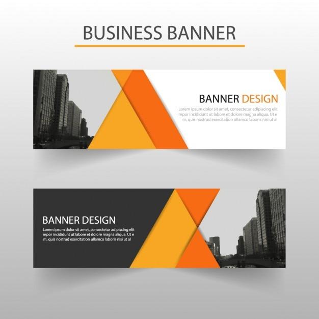 Geometrische Banner, orange Kostenlose Vektoren