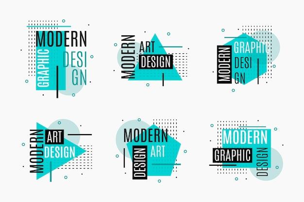 Geometrische blaue grafikdesign-etiketten Kostenlosen Vektoren