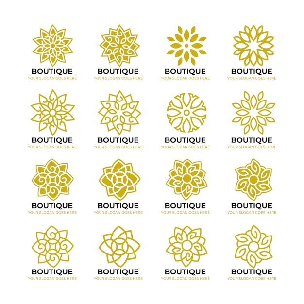 Geometrische blume natur logo vorlage Premium Vektoren