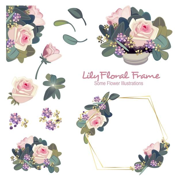 Geometrische blumenrahmen-verzierung der lilie Premium Vektoren