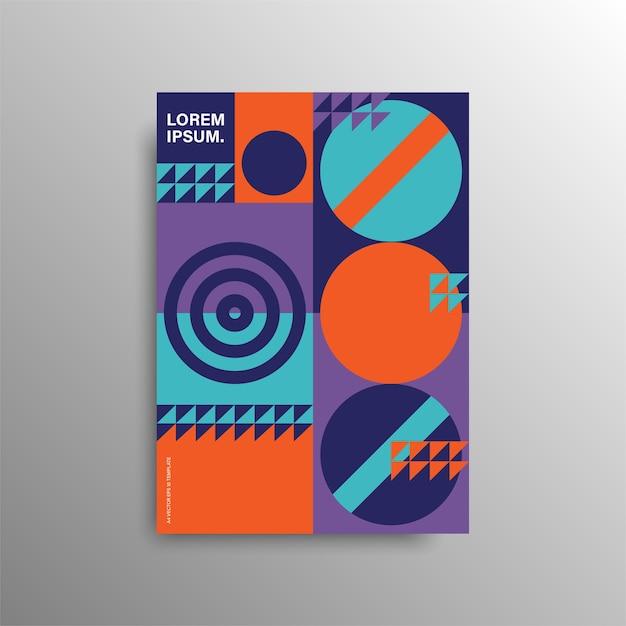 Geometrische bunte abdeckung. minimale geometrische formkomposition. minimales kreatives konzept. lager . Premium Vektoren