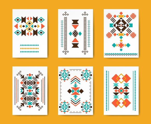 Geometrische dreieckige hipster-stammesflieger. ethnisches traditionelles, kreatives muster, Kostenlosen Vektoren