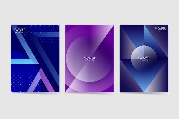 Geometrische farbverlaufsabdeckungen Kostenlosen Vektoren