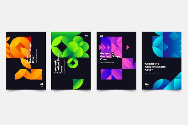 Geometrische farbverlaufsabdeckungen Premium Vektoren