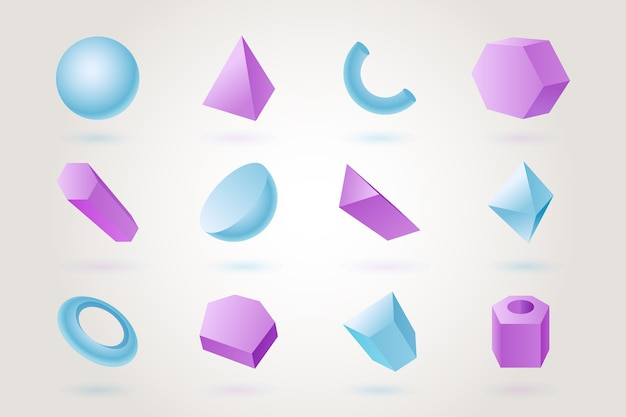 Geometrische formen im 3d-effekt Kostenlosen Vektoren