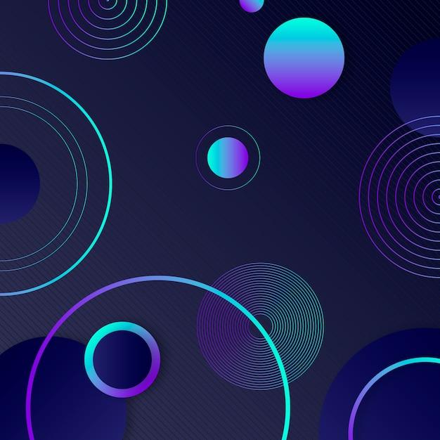 Geometrische formen mit farbverlauf auf dunklem hintergrund Kostenlosen Vektoren