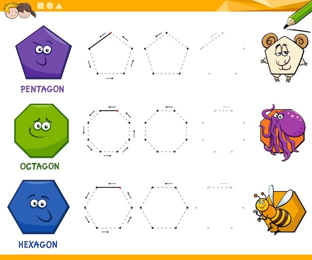 Geometrische Formen zeichnen Arbeitsblatt | Download der Premium Vektor
