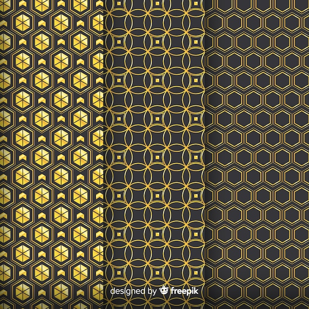 Geometrische goldene luxusmustergruppe Kostenlosen Vektoren