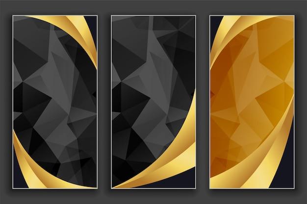 Geometrische goldene und schwarze luxusfahnen eingestellt Kostenlosen Vektoren