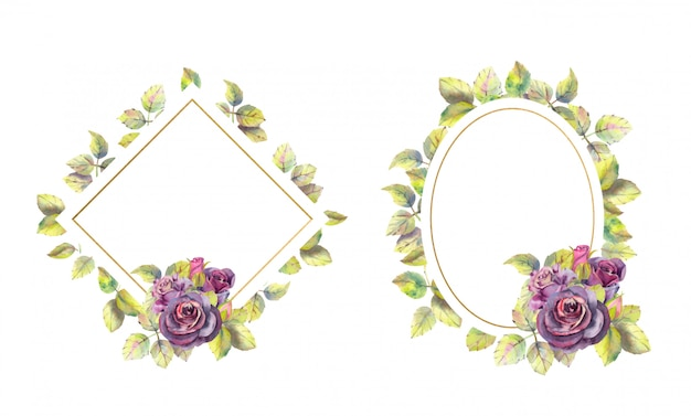 Geometrische goldrahmen mit rosenblüten. aquarell Premium Vektoren