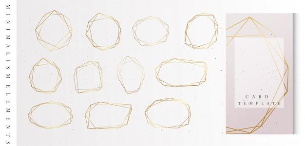 Geometrische goldrahmensammlung. Premium Vektoren
