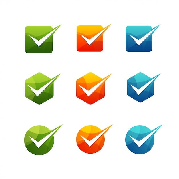 Geometrische häkchen-icon-set Premium Vektoren