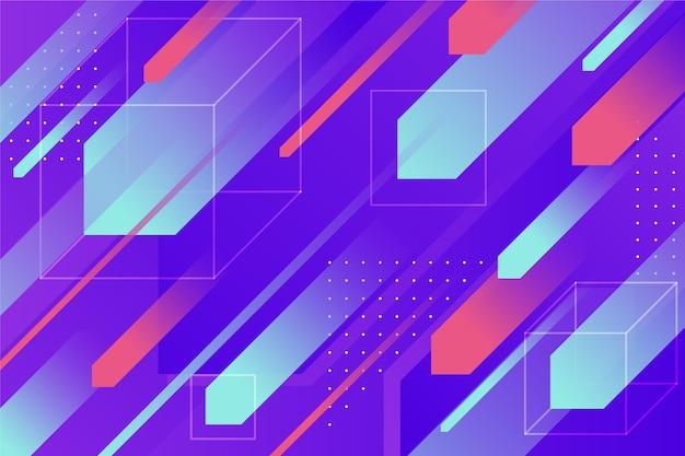 Geometrische hintergrundtapete mit verschiedenen bunten formen Kostenlosen Vektoren
