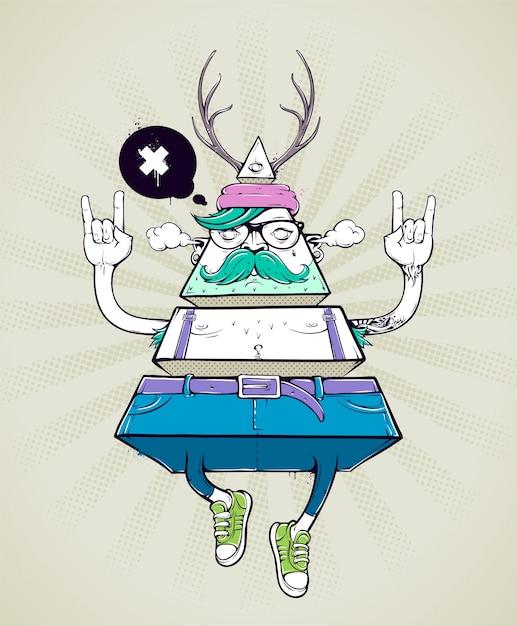 Geometrische hipster körper Kostenlosen Vektoren