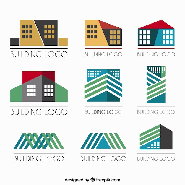 Geometrische immobilien logos Premium Vektoren